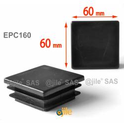 Square ribbed insert for tubes 60 x 60 mm BLACK plastic