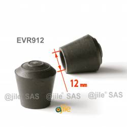 12 mm Diam. Gummi Kappen für Rundrohr 12 mm Aussendiameter - SCHWARZ