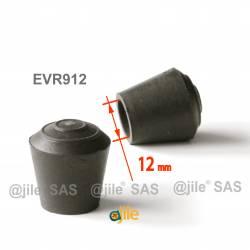Embout enveloppant rond diam. 12 mm Caoutchouc NOIR