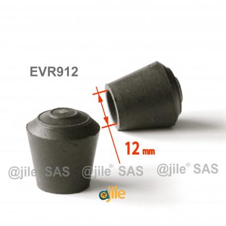 Puntale calzante diam. 12 mm di gomma per tubo 12 mm diam. esteriore - NERO - Ajile