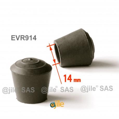 Puntale calzante diam. 14 mm di gomma per tubo 14 mm diam. esteriore - NERO - Ajile