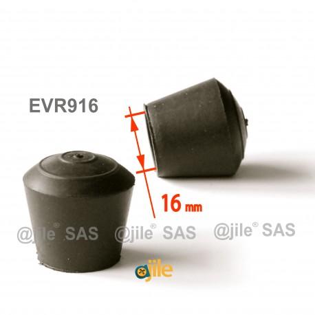 Embout enveloppant rond diam. 16 mm Caoutchouc NOIR - Ajile