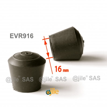 Puntale calzante diam. 16mm di gomma per tubo 16 mm diam. esteriore - NERO - Ajile