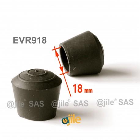 Puntale calzante diam. 18 mm di gomma per tubo 18 mm diam. esteriore - NERO - Ajile