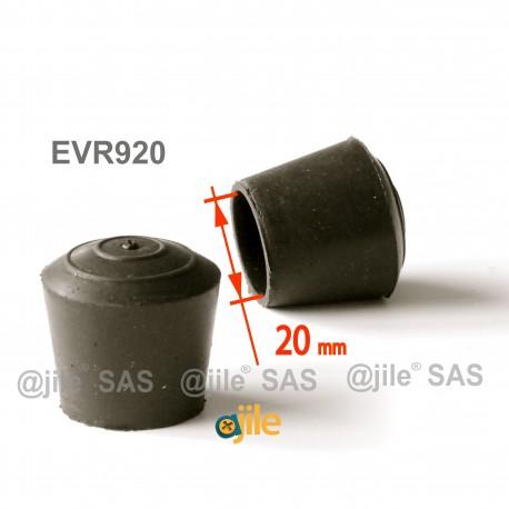 Embout enveloppant rond diam. 20 mm Caoutchouc NOIR - Ajile