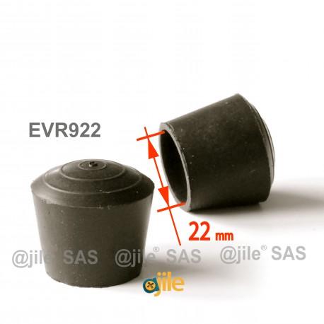 Puntale calzante diam. 22 mm di gomma per tubo 22 mm diam. esteriore - NERO - Ajile