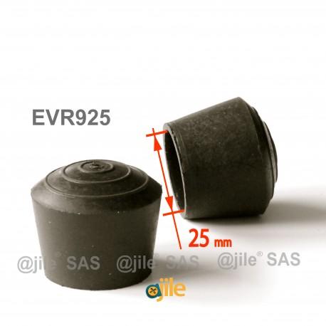 Embout enveloppant rond diam. 25 mm Caoutchouc NOIR - Ajile