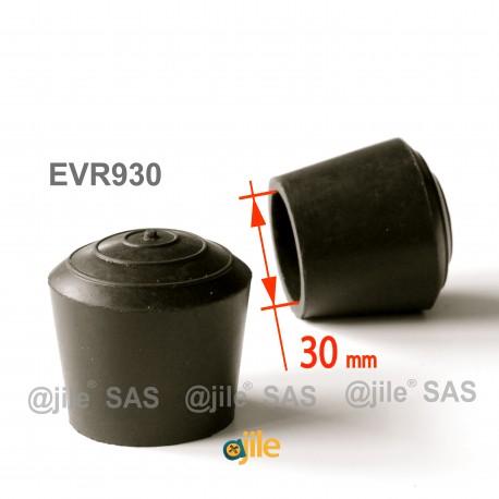 Puntale calzante diam. 30 mm di gomma per tubo 30 mm diam. esteriore - NERO - Ajile