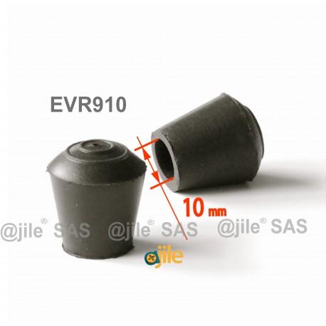 Embout enveloppant rond diam. 10 mm Caoutchouc NOIR - Ajile