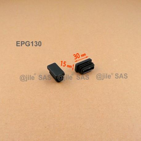Embout rectangulaire à ailettes 30 x 15 mm Plastique NOIR - Ajile