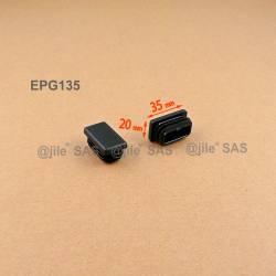 Inserto 35 x 20 mm rettangulare a lamelle per tubo 35 x 20 mm dim. esteriore - NERO