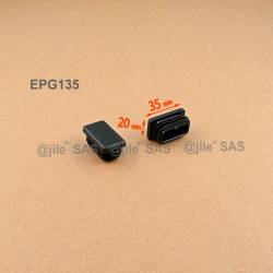 Rectangular insert for tube 35 x 20 mm BLACK plastic - Ajile