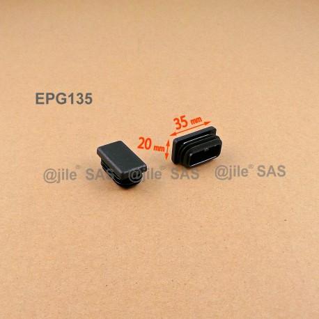 Embout rectangulaire à ailettes 35 x 20 mm Plastique NOIR - Ajile