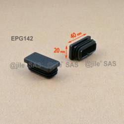 Rectangular insert for tube 40 x 20 mm BLACK plastic