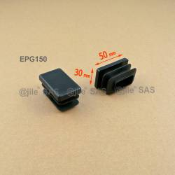 Rectangular insert for tube 50 x 30 mm BLACK plastic
