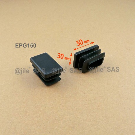 Rectangular insert for tube 50 x 30 mm BLACK plastic - Ajile