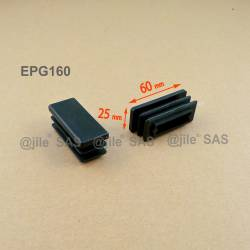 Embout rectangulaire à ailettes 60 x 25 mm Plastique NOIR