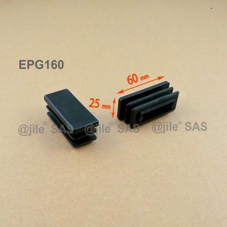 Inserto 60 x 25 mm rettangulare a lamelle per tubo 60 x 25 mm dim. esteriore - NERO - Ajile