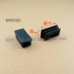 Inserto 60 x 30 mm rettangulare a lamelle per tubo 60 x 30 mm dim. esteriore - NERO