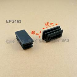 Rectangular insert for tube 60 x 30 mm BLACK plastic