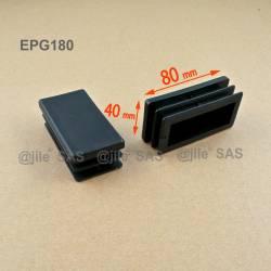 Inserto 80 x 40 mm rettangulare a lamelle per tubo 80 x 40 mm dim. esteriore - NERO