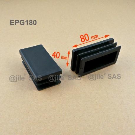 Embout rectangulaire à ailettes 80 x 40 mm Plastique NOIR - Ajile