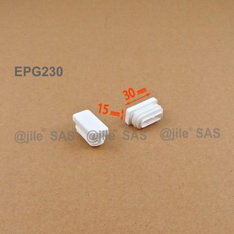 Embout rectangulaire à ailettes 30 x 15 mm Plastique BLANC - Ajile