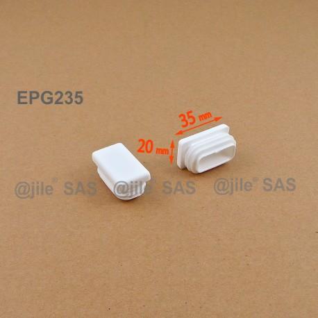 Embout rectangulaire à ailettes 35 x 20 mm Plastique BLANC - Ajile