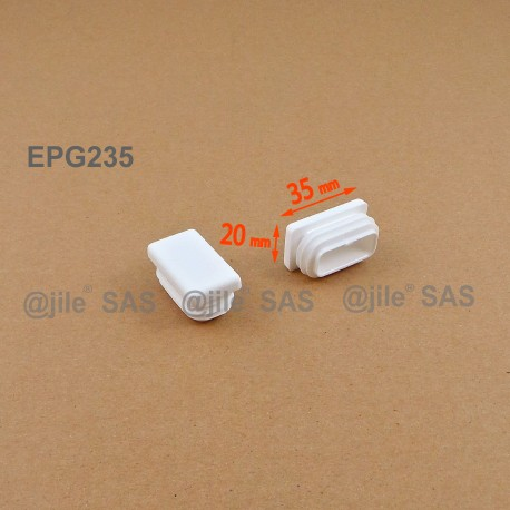 Rectangular  insert for tube 35 x 20 mm WHITE plastic - Ajile
