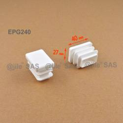 Rectangular insert for tube 40 x 27 mm WHITE plastic