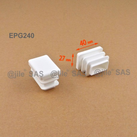 Embout rectangulaire à ailettes 40 x 27 mm Plastique BLANC - Ajile