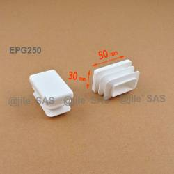 Rectangular insert for tube 50 x 30 mm WHITE plastic