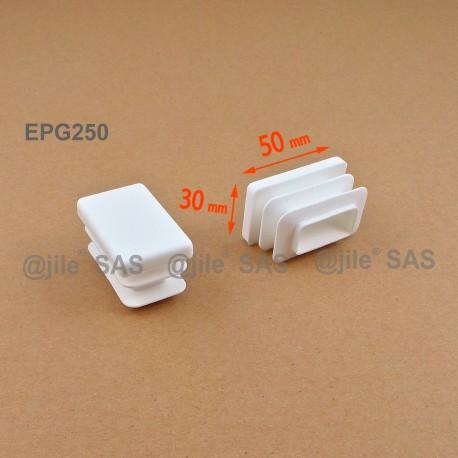 Rectangular insert for tube 50 x 30 mm WHITE plastic