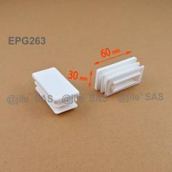 Rectangular insert for tube 60 x 30 mm WHITE plastic - Ajile