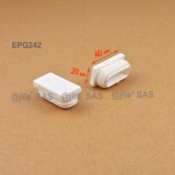 Rectangular insert for tube 40 x 20 mm WHITE plastic