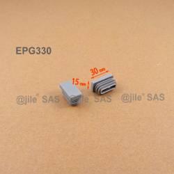 30 x 15 mm Lamellen-Stopfen für Rechteckrohre mit 30 x 15 mm Aussenmass - GRAU