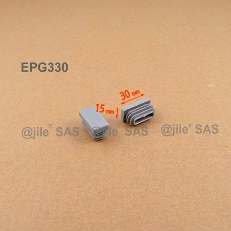Embout rectangulaire à ailettes 30 x 15 mm Plastique GRIS - Ajile