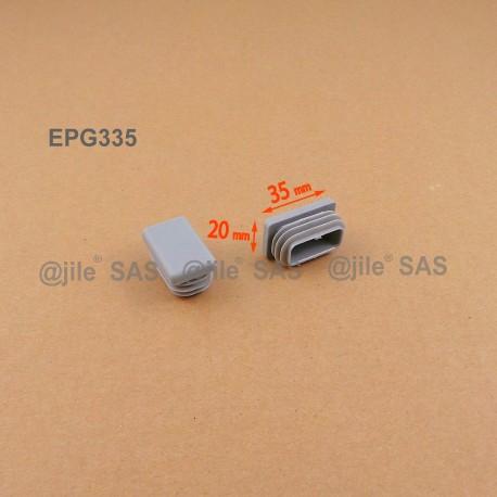 35 x 20 mm Lamellen-Stopfen für Rechteckrohre mit 35 x 20 mm Aussenmass - GRAU - Ajile