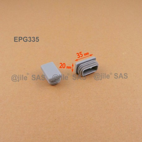 Rectangular insert for tube 35 x 20 mm GREY plastic - Ajile