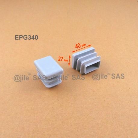 Embout rectangulaire à ailettes 40 x 27 mm Plastique GRIS - Ajile