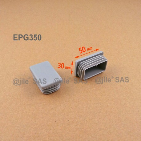 50 x 30 mm Lamellen-Stopfen für Rechteckrohre mit 50 x 30 mm Aussenmass - GRAU - Ajile