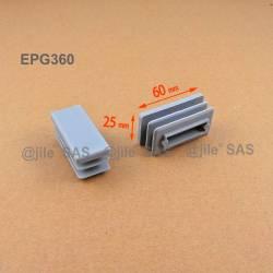 Embout rectangulaire à ailettes 60 x 25 mm Plastique GRIS