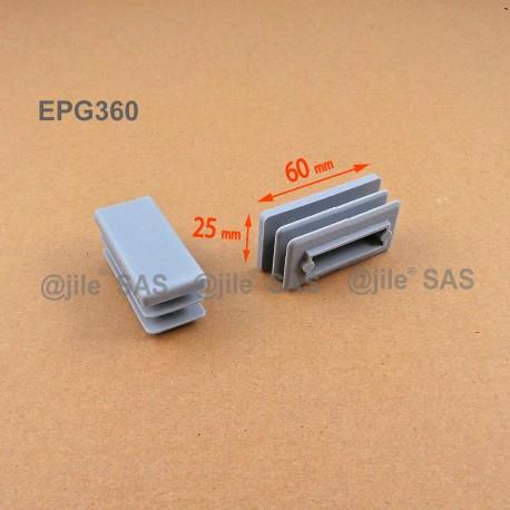 Embout rectangulaire à ailettes 60 x 25 mm Plastique GRIS - Ajile