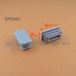 Embout rectangulaire à ailettes 60 x 30 mm Plastique GRIS - Ajile