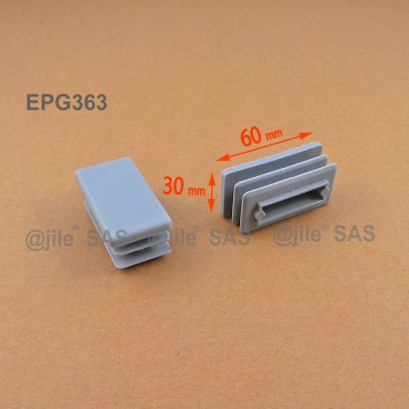 Rectangular insert for tube 60 x 30 mm GREY plastic - Ajile