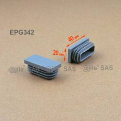 40 x 20 mm Lamellen-Stopfen für Rechteckrohre mit 40 x 20 mm Aussenmass - GRAU
