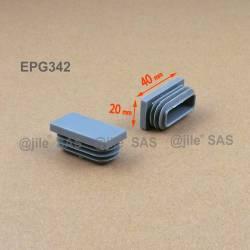 Embout rectangulaire à ailettes 40 x 20 mm Plastique GRIS