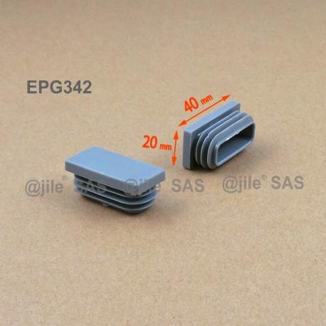 Embout rectangulaire à ailettes 40 x 20 mm Plastique GRIS - Ajile