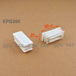 Rectangular insert for tube 60 x 25 mm WHITE plastic - Ajile