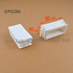 Rectangular insert for tube 80 x 40 mm WHITE plastic